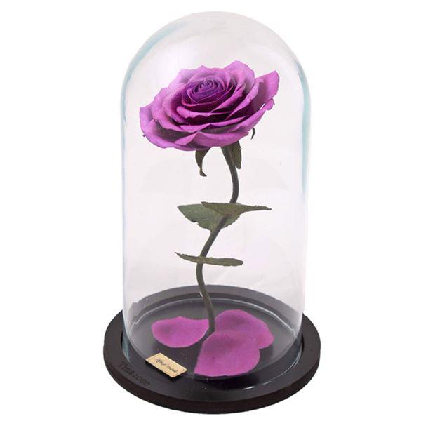 گل مصنوعی بنفش با حباب شیشه ای برند تینا رز