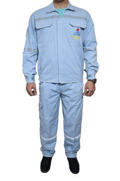 لباس کار مهندسی کاپشن و شلوار پارچه کتان کجراه با گلدوزی جیب جلو و پشت کاپشن