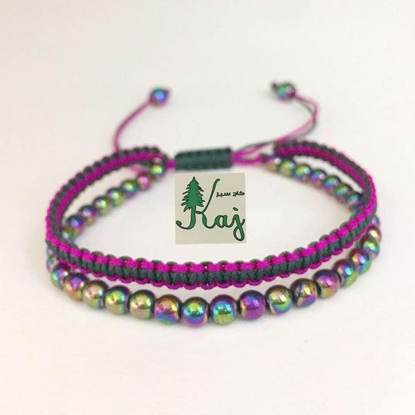 دستبند دو ردیفه بافت و سنگ حدید طراحی هفت رنگ با قابلیت تنظیم سایز