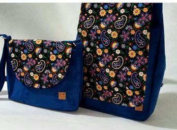 ست کوله در بلند همراه با کیف دوشی از جنس اشبالت در طرح و رنگبندی زیبای بنفش