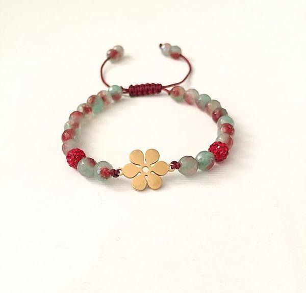 دستبند با گوی های سواروسکی قرمز  و پلاک استیل و قابلیت تنظیم سایز
