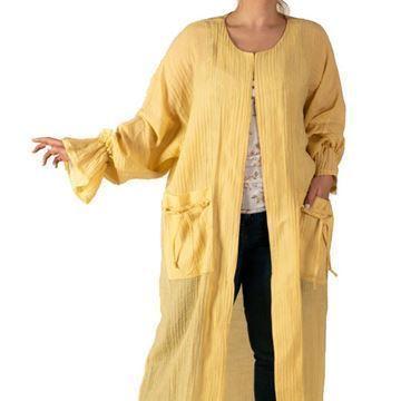 مانتو زرد رنگ بلند تابستانی و نازک