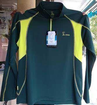 پیراهن یقه دار ارتریکس نیمه زیپ دار، جنس اصلی و سبز رنگ