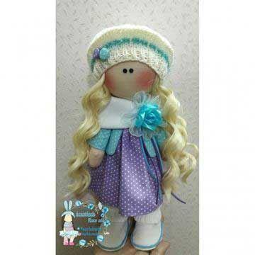 عروسک روسی سلنا با پیراهن بنفش سفید خالخالی با موهای طلایی