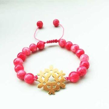 دستبند سنگ تراش خورده قرمز رنگ با پلاک استیل