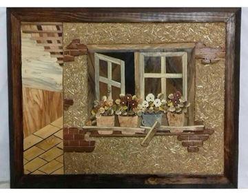 تابلومعرق خانه روستایی، معرق چوب با بهره گیری و ترکیب منحصربفرد طرح و رنگ و نقوش زیبا، کاملا دست ساز، سایز 30در40سانت