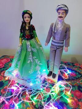 عروسک سنتی کرد قد عروسک خانم30 و قد آقا 33 سانت،جنس پلاستیک،جنس لباس آقا پشم و بانو تور و ساتن